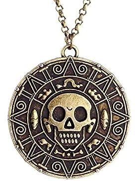 Fluch der Karibik JACK Münze hängende Halskette Antik Gold Totenkopf Unisex Modeschmuck