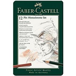 Faber-Castell 112975 - Estuche de metal Grafito Pitt con 12 piezas, monocrome