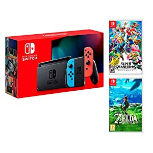 Nintendo Switch 32Gb Neon-Rot/Neon-Blau + Super Smash Bros: Ultimate + Zelda: Breath of the Wild