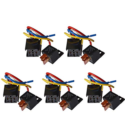 Ehdis [5 Packung Car Truck Motor Heavy Duty Heavy Duty 5-Pin 80A 24V EIN/Aus Normal offen SPDT Relais Steckdose Stecker 5 Wire Automotive -