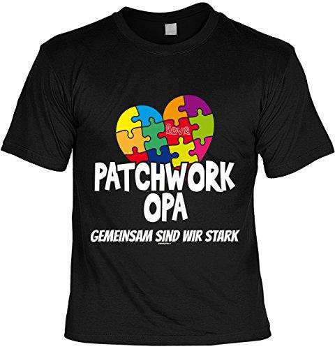 T-Shirt - Patchwork Opa - Gemeinsam sind wir stark - cooles Shirt mit lustigem Spruch als Geschenk zum Vatertag Schwarz
