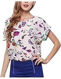 8ceef395f2b3dc AmyGline Sommer Oberteil Damen Bluse Top LosePlus Größe Kurzarm Bluse  Psychedelischer Vogel Druck Chiffon Shirt T Shirt Tunika…