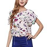 CAOQAO T-Shirt Rundhals Ausschnitt Sweatshirt Damen Kurzarm O-Ausschnitt LäSsige Psychedelic Bird Print Chiffon Hemdbluse