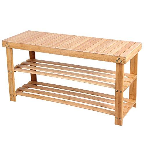 SONGMICS Bambus Schuhregal, Schuhschrank mit Sitzbank,Schuhbank mit 3 Ablagen 90 x 45 x 28,7 cm (B x H x T) cm ideal für Wohnzimmer,Flur,Bad,Diele LBS90N (Schlafzimmer Bänke)