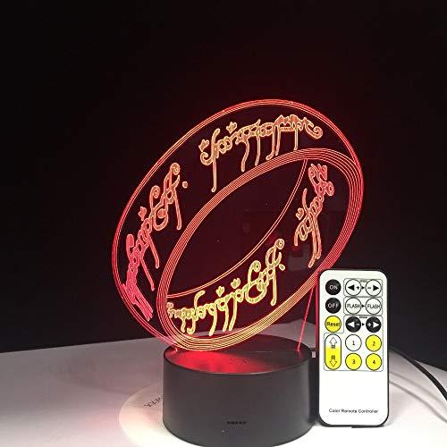 (Herr der Ringe 3D Illusion Schreibtischlampe 7 Farbe 3D Lampe Kinder Geschenk Touch Nachtlicht für Kinder Urlaub Geschenk)