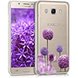 kwmobile Funda transparente para > Samsung Galaxy J5 (versión 2016) DUOS < funda protectora de silicona TPU con diseño IMD - funda blanda para móvil Diseño flor bola