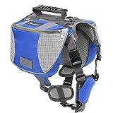 Pawaboo Hunde Rucksack Radtasche Hundetasche – verstellbar Haustier Katze Tragetasche Hundegeschirr Sicherheitsgeschirr mit Leinen für Outdoor, Reise, Camping, Wandern, M Größe, Blau & Grau