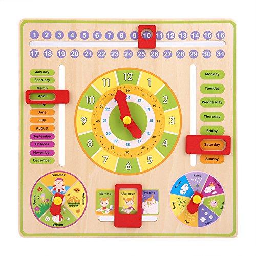 Calendario didattico in legno orologio educativo precoce di bambini gioco orologio calendario tempo mese settimana stagione calendario tavola quotidiano cognitivo