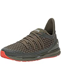 PUMA Men's Ignite Limitless Netfit Sneaker, Olive Night-Cherry Tomato, 13 M US
