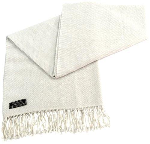CJ Apparel Elfenbein Hochgradige 100% Kaschmir zweilagige Schals handgemacht in Nepal Schultertuch Schal Umschlagtuch -