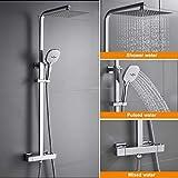 WOOHSE Duschsystem mit Thermostat Regendusche Duschset Edelstahl Duschsäule mit Kopfbrause, 3 Strahlarten Handbrause und Verstellbarer Duschstange Brausegarnitur Duscharmatur Dusche Duschsäule für Bad