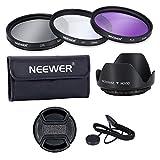Neewer ® professionale 52 millimetri lente filtro Kit di accessori per Canon EOS 400D / Xti; 450D / Xsi; 1000D / XS; 500 d/T1i; 550D / T2i; 600 d/T3i; d 650/T4i; d 700/T5i; 100D; 1100D; Nikon Sony Samsung Fujifilm Pentax e altri obiettivi per reflex digitale con filo filtro 52MM - include (UV, CPL, FLD) Kit filtro + borsa da trasporto filtro + fiore parasol del centro Tulip pizzico Cap con cinturino Cap Keeper