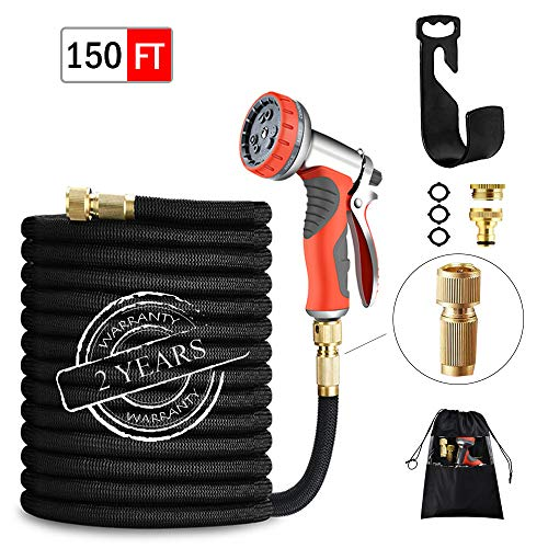 【2019 UPGRADE】Expandable Hose 150FT 45M Garden Hose with Double Latex Core Hose Pipe Solid Brass Fittings 9 Function Metal Spray Gun Nozzle Wall Hanger for Gardening Car Washing Pet Bathing (150FT)