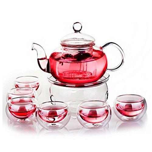 King Do Way résistant à la chaleur en verre élégant Infuseur Lot de pots à thé Théière + Warmer + 6 Tasses à thé double paroi clair 600 ml
