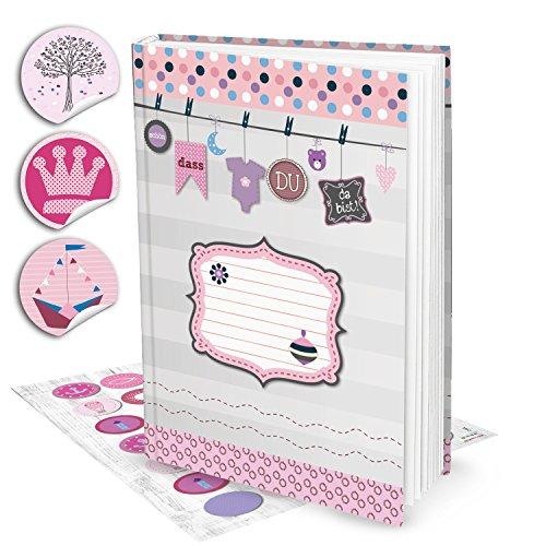 nder-Tagebuch Baby-Buch Album für Mädchen DIN A4 SCHÖN, DASS DU DA BIST + 35 Aufklebern in rosa pink, 136 Seiten + Inhaltsverzeichnis; Geschenk werdende Eltern (Mädchen-album)