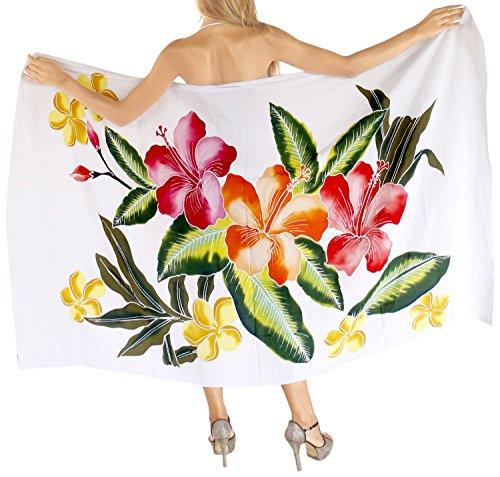 Hibiskus-bikini-top (LA LEELA Coverup Hand malen Rayon Hibiskus Sarong Frauen Bikini 78x43inch Weiß)