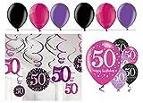 Feste Feiern Geburtstagsdeko Zum 50. Geburtstag I 24 Teile All-In-One Set Spirale Deckenhänger Luftballon Pink Schwarz Violett Party Deko Happy Birthday