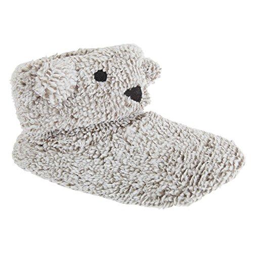 Slumberzzz flauschige Damen Tier Hausstiefel (38/39 EU) (Grau Koala)