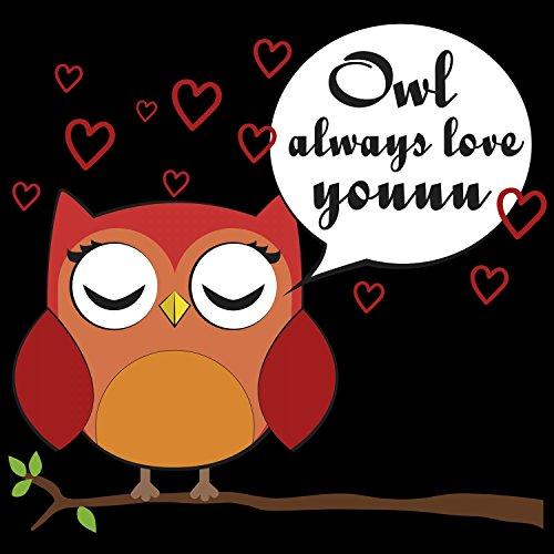 Fashionalarm Herren T-Shirt - Owl Always Love You | Fun Shirt mit Spruch als Valentinstag Jahrestag Geschenk Idee für verliebte Paare & Eulen Fans Schwarz