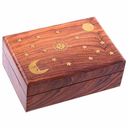 GHQ Deals New Sheesham Holz Schmuckkästchen mit Sonne, Mond & Sterne Inlay.