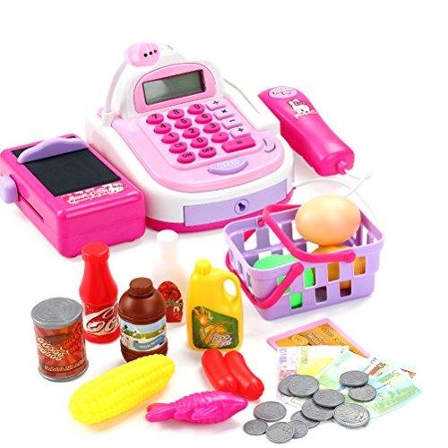 TOYMYTOY Kinder Supermarktkasse Registrierkasse mit Scanner Rollenspiel - Cash Register Taste