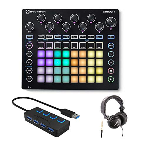 Novation Circuit Groove Box Drum Machine Bundle mit Kopfhörer und 4-Port 3.0 USB HUB