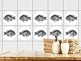 GRAZDesign 770448_57x57_FT Fliesenaufkleber Bad | Fliesensticker mit schwarzen Fisch | einfach auf die Fliese kleben | rundes Aufkleber-Set für Bad 25 Stück (57x57cm)