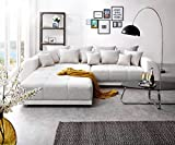 DELIFE Bigsofa Violetta Hellgrau Creme 310x135 cm inklusive Hocker und Kissen Big Sofa