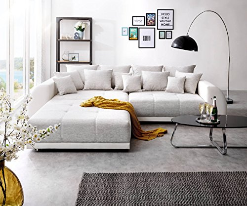 DELIFE Bigsofa Violetta Hellgrau Creme 310×135 cm inklusive Hocker und Kissen Big Sofa