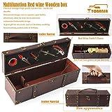 Yobansa Antike Holzkiste Aufbewahrungsbox mit Griff, Weinflaschenbox, Weingeschenkbox aus Holz, Weinverschluss, Weinausgießer, Weinöffner (5set) - 4