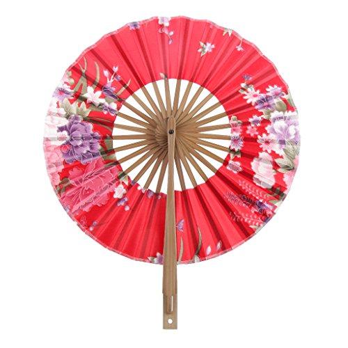 8 Pulgadas Ventilador del Mano Seda de Flor Superficie Abanico Plegable Bambú...