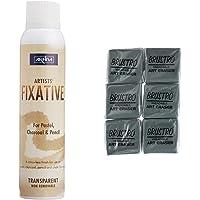 Camel Artists Fixative Spray, 200ml & Brustro Kneadable Art Eraser (Pack of 6)