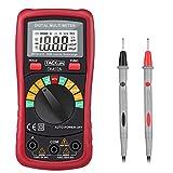 Tacklife DM02A Multimetro Digitale Classico Multi Tester con Rilevamento di Voltaggio Senza Contatto, Display LCD Retroilluminato, Test per Tensione, Corrente, Resistenza, Capacità e Continuità (Rosso)
