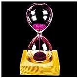 SODIAL Rosa Clessidra Magnetica Clessidra con Clessidra da Imballaggio in Vetro Ferro Sabbia Polvere Ferro da Stiro 13.5 X 5.5Cm Sedile in Legno 8 X 8 X 2Cm