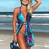 BYGFYTIUG Bikini Bikini da Donna a Tre Pezzi Bikini a Stampa Sfumata Color tortino. Criss Cross