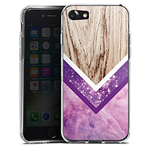 Apple iPhone X Silikon Hülle Case Schutzhülle Holz Look Glitzer Hipster Muster Silikon Case transparent