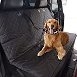 """[Reinforced Version] Waterproof Back Seat Dog Cover for Cars and SUV with Extra Dog Seat Fixed Belt, Seat Anchors, Nonslip Backing - 58""""x54"""" Machine Washable Convertible Pet Car Hammock"""