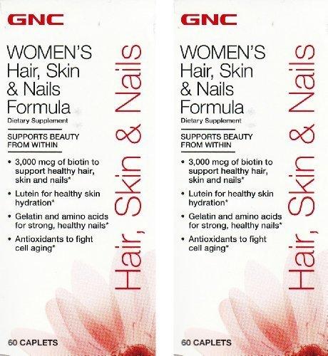 gnc-womens-hair-skin-nails-formula-60-count-caplets-2-bottles-each-of-60-caplets-by-gnc