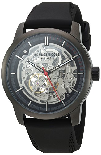 Kenneth Cole New York Men' s 'automatico in acciaio INOX e silicone orologio da donna, colore: Nero (Model: 10030790)
