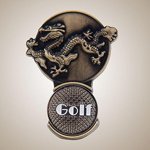 Auntwhale Clip del Cappello da Golf Magnetico con Il contrassegno della Sfera di Golf Zodiaco Cinese Drago