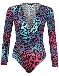 Fast Fashion Frauen Bodysuit Kleid Schultermit Off Neon Leopard Druckte Reizvolles Bodycon