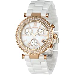 Precimax Women's PX13191 Lily Elite Crystal Mother-Of-Pearl Dial White Ceramic Band Watch