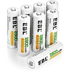 EBL Lot de 8 Piles Grande Capacité 2800mAh AA Ni-MH Piles Rechargeables 1200 Cycles avec boîtes pour Piles