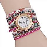 Relojes para mujer, KanLin1986 mujeres de cuero largo pulsera banda de liquidación analógico movimiento de cuarzo reloj de pulsera (rosa)