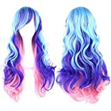 "Straightened length 27.6"" Wig mixed color Long Curly Wavy Hair Women and Girl Cosplay Party Costume Wig(Light cyan, purple, pink)"