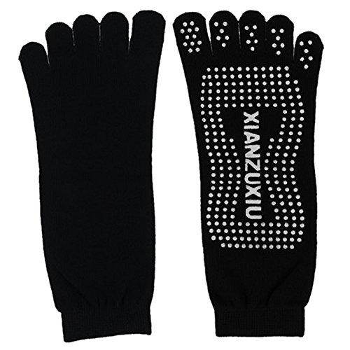 xianzuxiu Confortable Chaussettes de Yoga en coton a orteils separes Deodorant respirant antiderapant massage des pieds noir