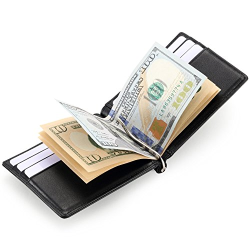 hiscow Bifold Money Clip Wallet con 6 carte di credito - Vitello italiana