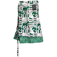 Mogul Interior Womens Magic Wrap Skirt Green Printed Reversible Beach Wrap Cruise Dress