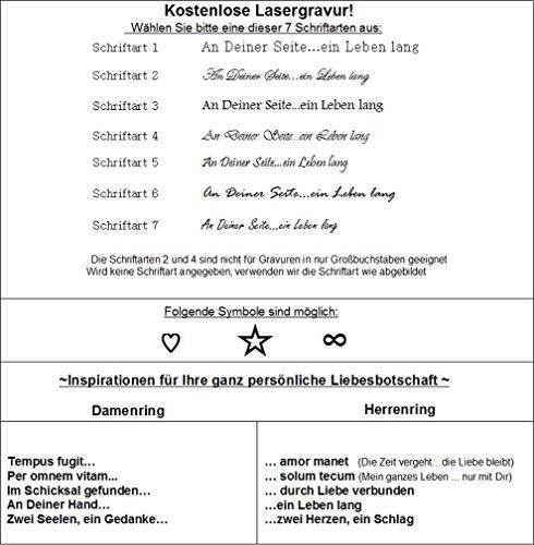 Trauringe Verlobungsringe Eheringe Edelstahlringe aus Edelstahl mit individueller Gratis Innen & Aussenlasergravur L083