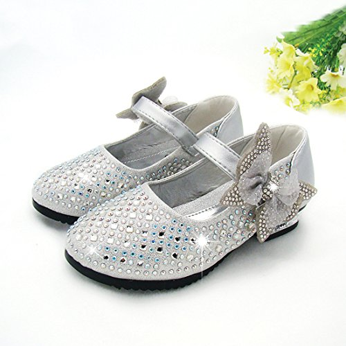O&N Prinzessin Gelee Partei Absatz-Schuhe Sandalette Stäckelschuhe mit Kunstdiamantu für Kinder Silber